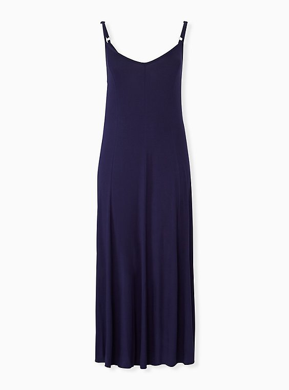 Super Soft Navy Trapeze Maxi Dress, , hi-res