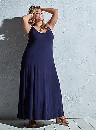 Super Soft Navy Trapeze Maxi Dress, PEACOAT, pdped