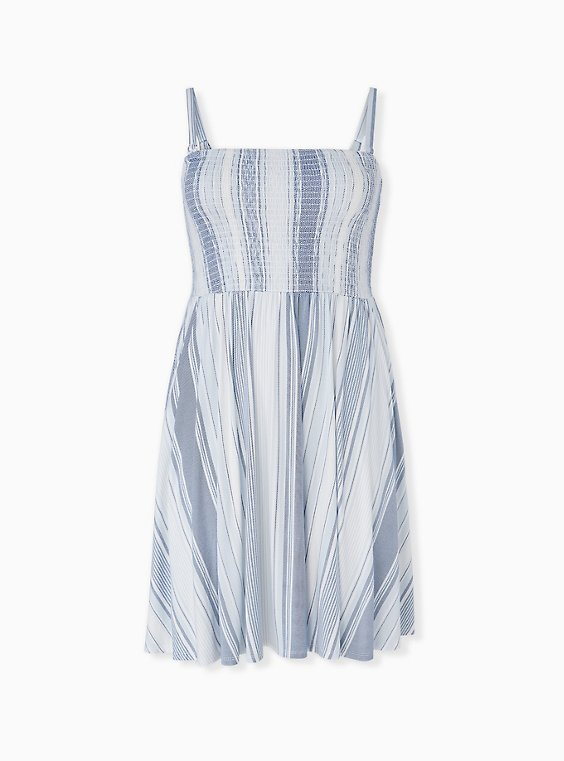 Plus Size Super Soft Light Blue Stripe Strapless Skater Dress, , hi-res