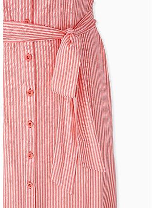 Coral Stripe Challis Self Tie Button Front Drawstring Shirt Dress , STRIPE - ORANGE, alternate