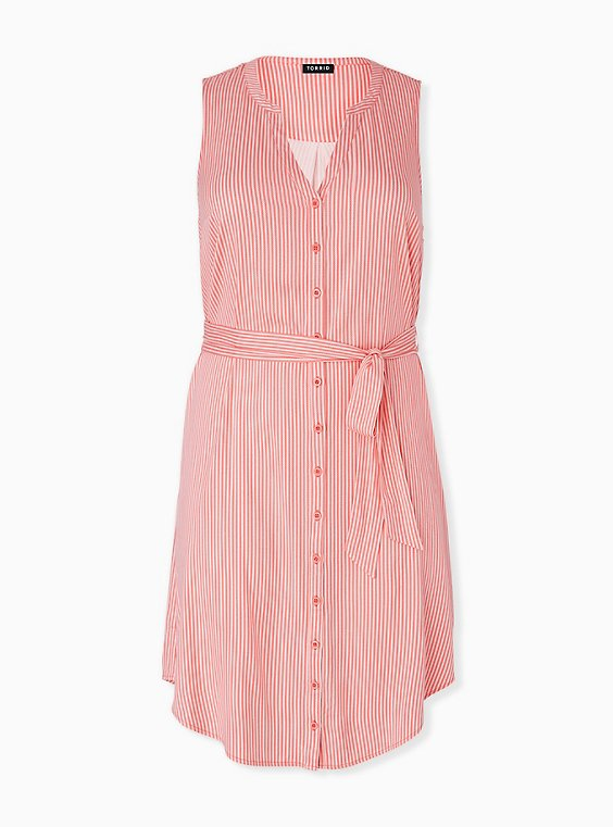 Coral Stripe Challis Self Tie Button Front Drawstring Shirt Dress , STRIPE - ORANGE, hi-res