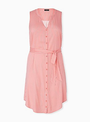 Plus Size Coral Stripe Challis Self Tie Button Front Drawstring Shirt Dress , STRIPE - ORANGE, hi-res