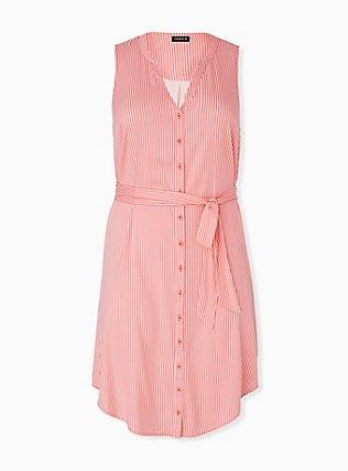 Coral Stripe Challis Self Tie Button Front Drawstring Shirt Dress , STRIPE - ORANGE, hi-res