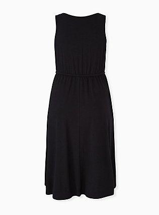Black Jersey Drawstring Midi Dress, DEEP BLACK, alternate