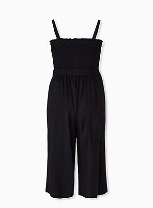 Super Soft Black Smocked Culotte Jumpsuit, DEEP BLACK, alternate