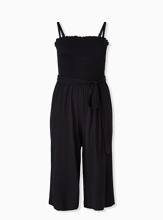 Super Soft Black Smocked Culotte Jumpsuit, , hi-res