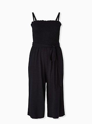 Super Soft Black Smocked Culotte Jumpsuit, DEEP BLACK, hi-res