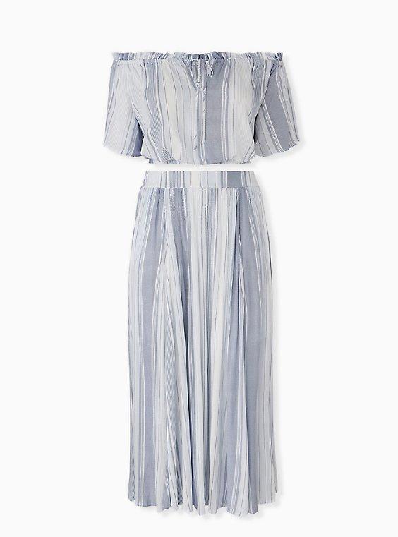 Light Blue Stripe Crinkled Gauze Crop Top & Maxi Skirt Set, , hi-res
