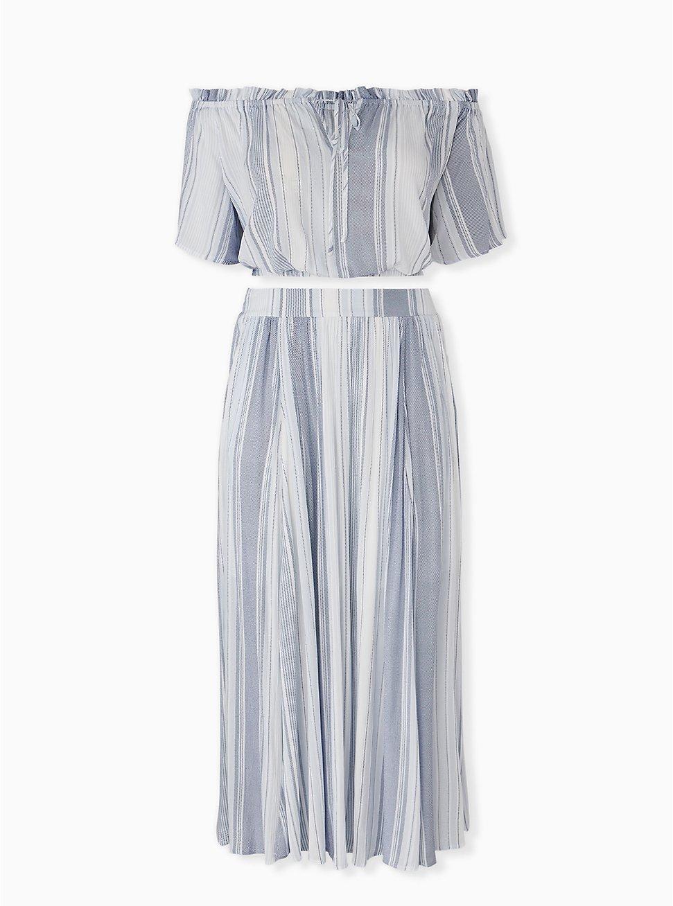 Light Blue Stripe Crinkled Gauze Crop Top & Maxi Skirt Set, STRIPE - BLUE, hi-res