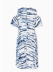 Blue Tie-Dye Gauze Cold Shoulder Wrap Midi Dress, TIE DYE-BLUE, alternate