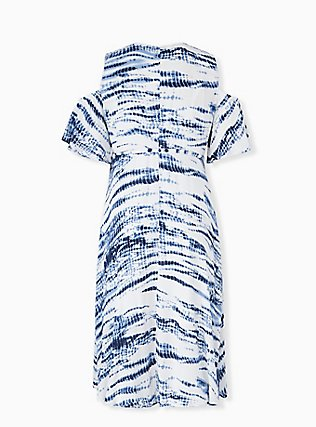 Plus Size Blue Tie-Dye Gauze Cold Shoulder Wrap Midi Dress, TIE DYE-BLUE, alternate