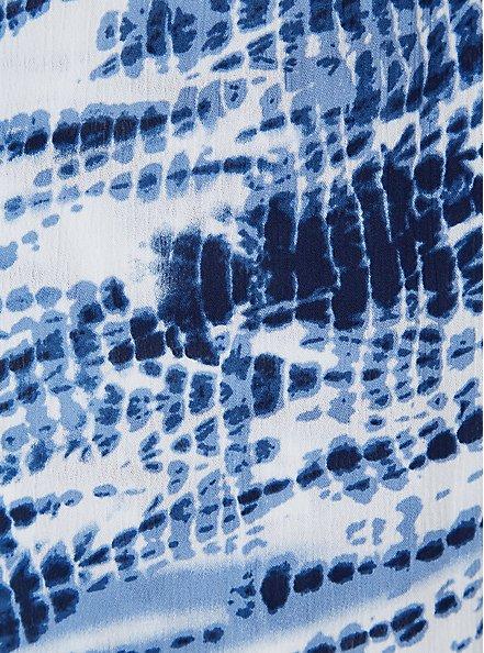 Plus Size Blue Tie-Dye Gauze Cold Shoulder Wrap Midi Dress, TIE DYE-BLUE, alternate