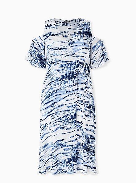 Plus Size Blue Tie-Dye Gauze Cold Shoulder Wrap Midi Dress, TIE DYE-BLUE, hi-res