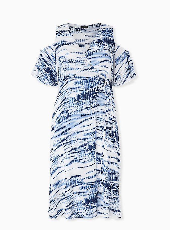 Plus Size Blue Tie-Dye Gauze Cold Shoulder Wrap Midi Dress, , hi-res