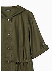Olive Green Voile Short Sleeve Hooded Anorak, DEEP DEPTHS, alternate