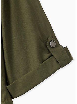Plus Size Olive Green Voile Short Sleeve Hooded Anorak, DEEP DEPTHS, alternate