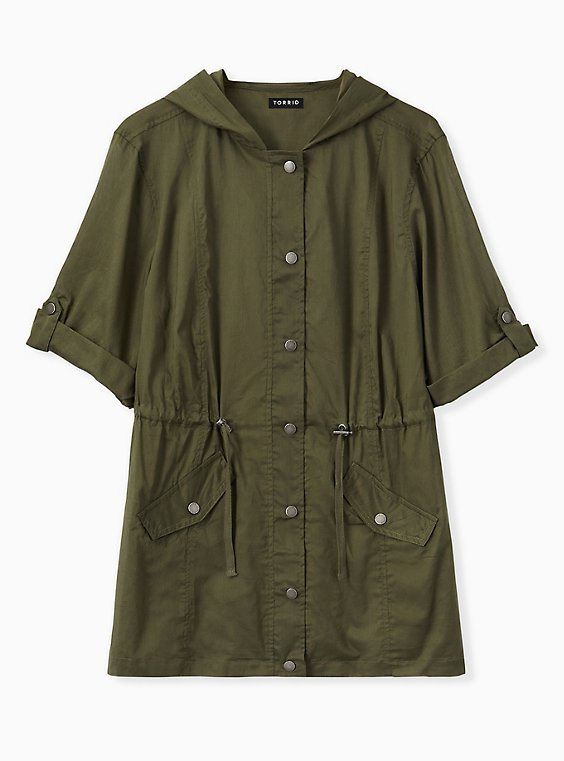 Olive Green Voile Short Sleeve Hooded Anorak, , hi-res