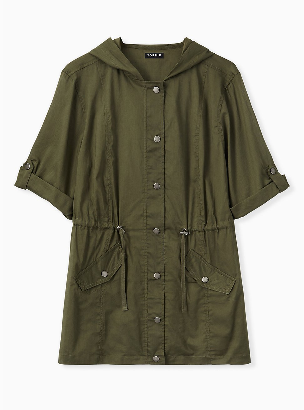 Olive Green Voile Short Sleeve Hooded Anorak, DEEP DEPTHS, hi-res