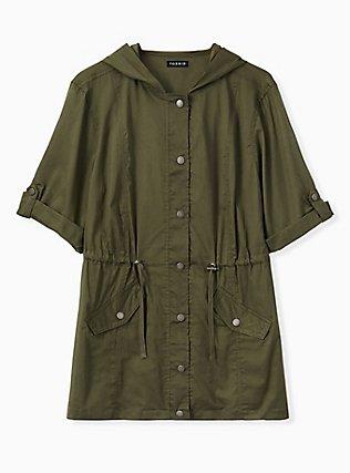 Plus Size Olive Green Voile Short Sleeve Hooded Anorak, DEEP DEPTHS, hi-res