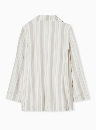 Plus Size Taupe Stripe Linen Blazer, STRIPES, alternate