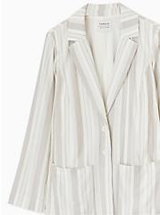 Plus Size Taupe Stripe Linen Blazer, STRIPES, alternate