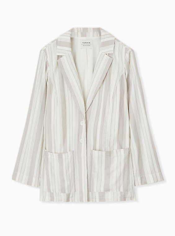 Taupe Stripe Linen Blazer, , hi-res