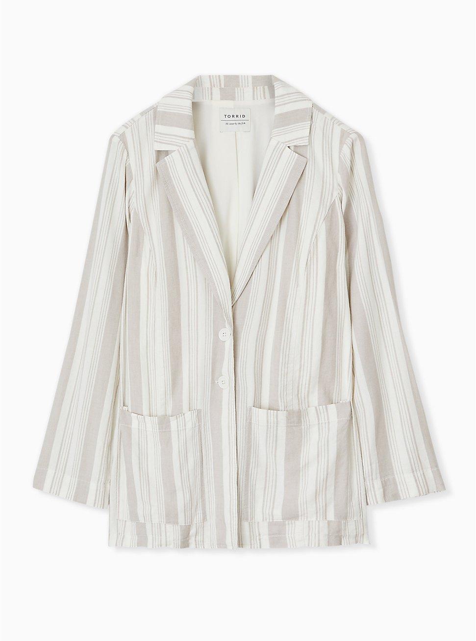 Plus Size Taupe Stripe Linen Blazer, STRIPES, hi-res