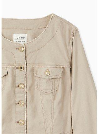 Crop Collarless Linen Jacket - Taupe, ATMOSPHERE, alternate