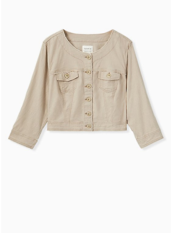 Crop Collarless Linen Jacket - Taupe, , hi-res