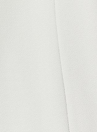 Plus Size Light Stone Grey Crepe Drape Front Blazer, OYSTER MUSHROOM, alternate