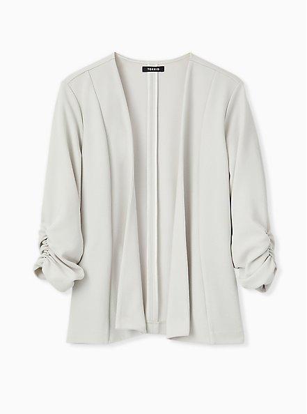 Light Stone Grey Crepe Drape Front Blazer, OYSTER MUSHROOM, hi-res