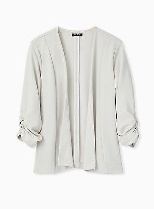 Plus Size Light Stone Grey Crepe Drape Front Blazer, OYSTER MUSHROOM, hi-res