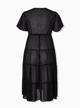 Black Swiss Dot Tiered Kaftan, DEEP BLACK, alternate