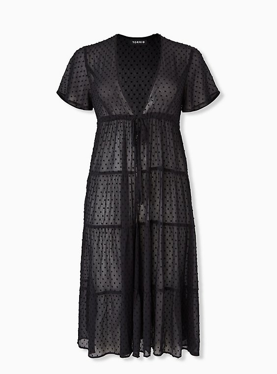 Black Swiss Dot Tiered Kaftan, , hi-res