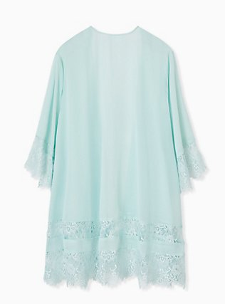 Mint Blue Chiffon Lace Trim Kimono, HARBOR GRAY, alternate