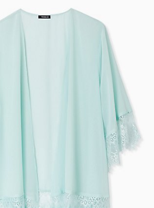 Mint Blue Chiffon Lace Trim Kimono, HARBOR GRAY, alternate