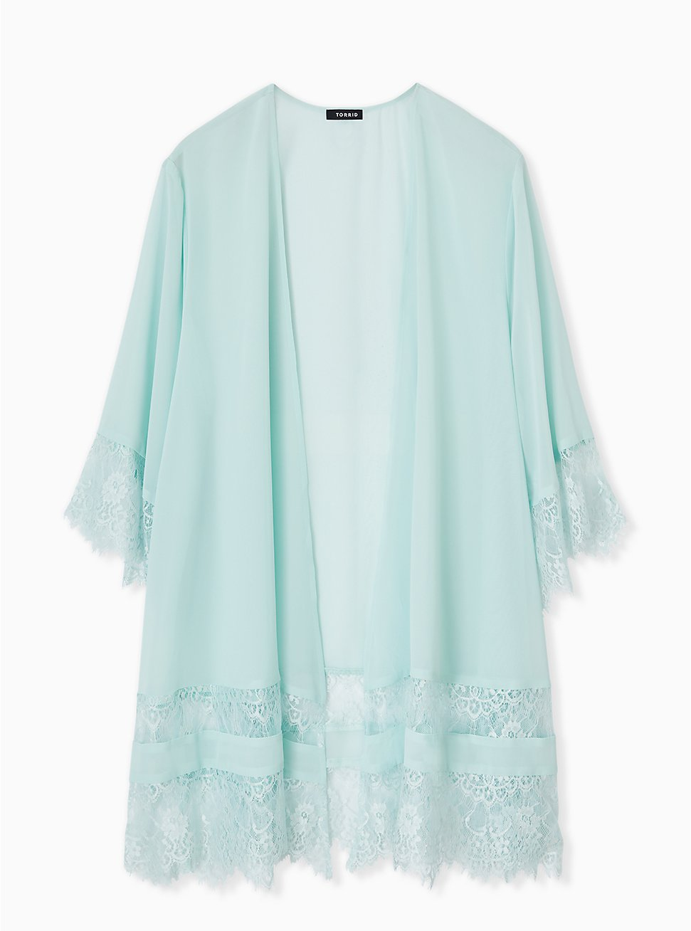 Mint Blue Chiffon Lace Trim Kimono, HARBOR GRAY, hi-res