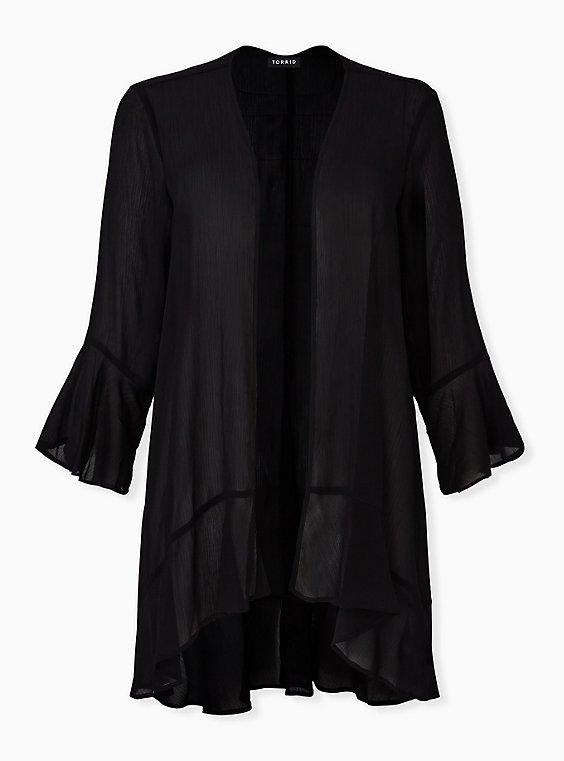 Plus Size Black Crinkle Chiffon Kimono, DEEP BLACK, hi-res
