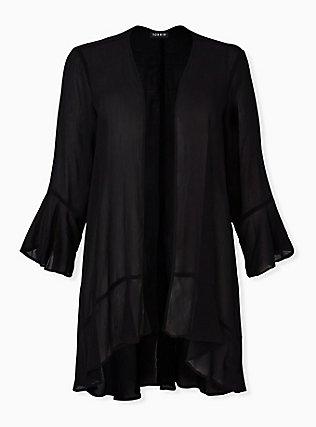 Black Crinkle Chiffon Kimono, DEEP BLACK, hi-res
