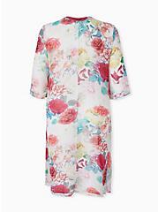 White Floral Chiffon Hi Lo Kimono, FLORAL, alternate