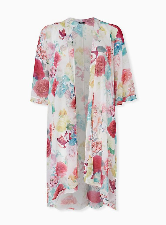 Plus Size White Floral Chiffon Hi Lo Kimono, , hi-res