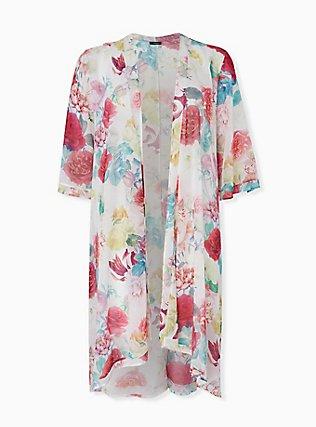 White Floral Chiffon Hi Lo Kimono, FLORAL, hi-res