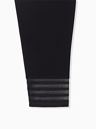 Crop Premium Legging - Shadow Stripe Hem Black, BLACK, alternate