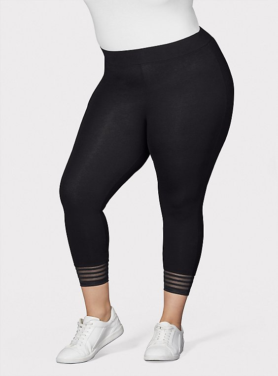 Plus Size Crop Premium Legging - Shadow Stripe Hem Black, , hi-res