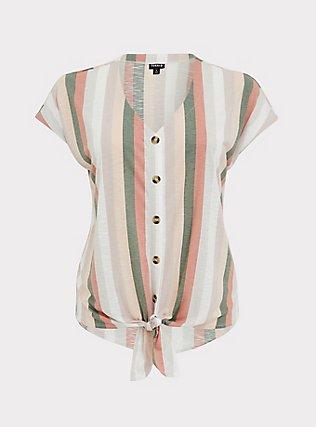 Plus Size Multi Stripe Slub Jersey Tie Front Midi Dolman Blouse, STRIPES, flat