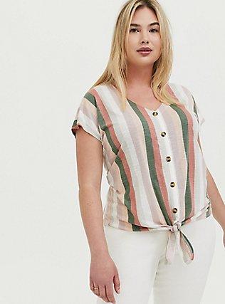 Multi Stripe Slub Jersey Tie Front Midi Dolman Blouse, STRIPES, hi-res