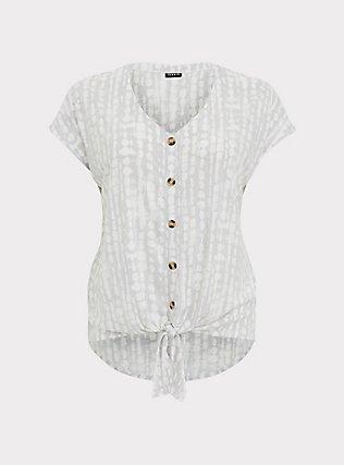 Plus Size Ivory Tie-Dye Slub Jersey Tie Front Midi Dolman Blouse, TIE DYE, flat