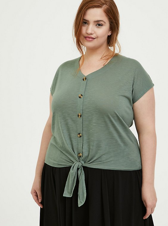 Light Olive Green Slub Tie Front Dolman Midi Top, , hi-res