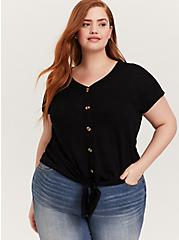 Black Slub Tie-Front Dolman Midi Top, DEEP BLACK, hi-res