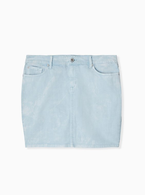 Plus Size Denim Mini Skirt - Washed Light Blue , , hi-res